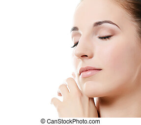 il, bello, woman., uno, foto, di, il, bella donna, con, uno, naturale, make-up., cura, di, uno, skin., terme