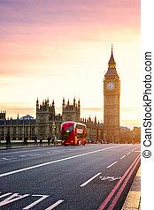 il, ben grande, casa parlamento, e, bus double-decker, sfocato, movimento, londra, regno unito