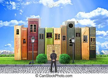 il, biblioteca, concept., uno, uomo, stare in piedi, prima,...