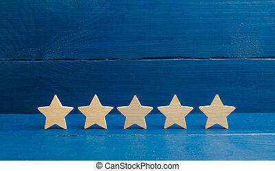il, business, hôtel, arrière-plan., qualité, restaurant, evaluation., t, classement, service, reussite, application., mobile, bleu, acheteur, étoiles, cinq, choice., concept