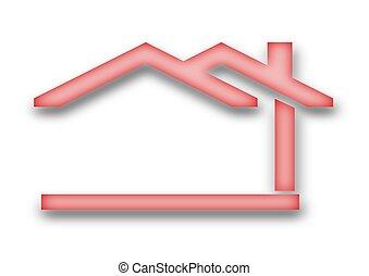 il, casa, con, uno, tetto frontone