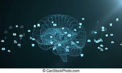 il, cervello umano, è, formato, vicino, filatura, multimedia, icons.
