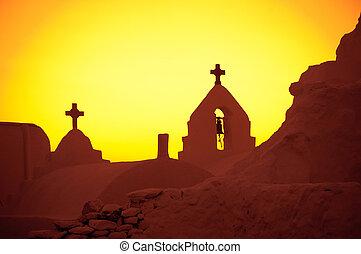 il, chiesa, di, panagia, paraportiani, a, tramonto, isola...