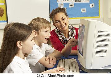 il classe, informatique, écoliers, utilisation, prof