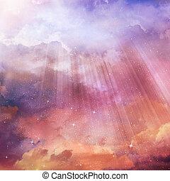 il, colorare, cielo, con, nubi, fondo