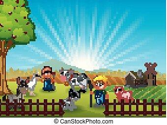 il, coltivatori, custodia, animali, in, fattoria, a, mattina