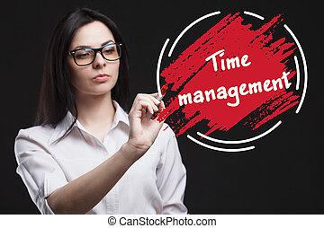 il, concetto, di, marketing, tecnologia, internet, e, il, network., uno, giovane, uomo affari, mostra, cosa, è, importante, per, business:, gestione del proprio tempo