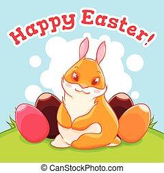 il, coniglietto pasqua, in, il, meadow., uovo, hunting., uno, celebrazione, di, spring., vettore, illustrazione