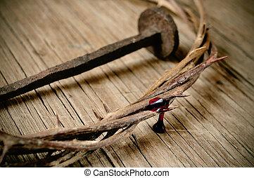il, corona spine, di, gesù cristo, e, uno, chiodo, su, il,...