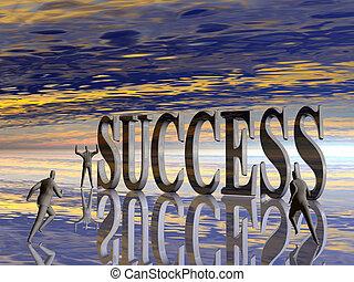il, corsa, concorrenza, per, success.
