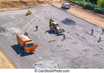 il, costruzione, di, il, scuola, stadium., scavatore, dumper, rullo