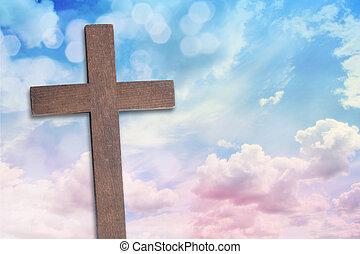 il, croce, di, gesù cristo, e, bello, nubi