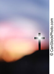 il, croce, di, gesù cristo, su, uno, collina
