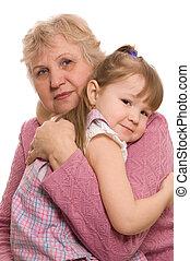 il, donna anziana, con, il, figlia grande