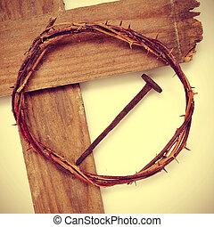 il, gesù cristo, corona spine, e, il, santo, croce