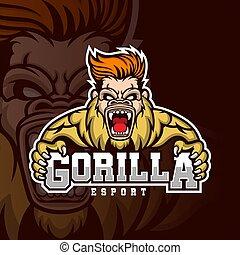 il giocare, mascotte, logotipo, esport, gorilla