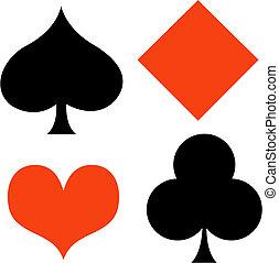 il giocare, poker, arte, clip, gioco, scheda