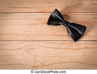 il, giorno padri, composizione, di, nero, cravatta arco, xx, su, pavimento legno, backround., spazio copia