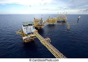 il, grande, piattaforma petrolifera vicina costa