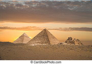 il, grande, piramidi