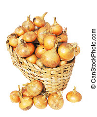 il, grande, raccolto, di, cipolle, bugie, in, uno, cesto
