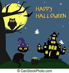 il, halloween, gatto, in, il, strega, s, cappello, sedere, accanto a, il, witchs, house., prossimo, vaso, di, pozioni, uno, albero, un, gufo, volare, vampiri, stelle, fantasmi, e, uno, luna piena, a, night., autunno, holiday.