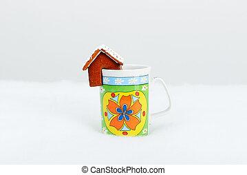 il, hand-made, mangiabile, case pan zenzero, su, uno, tazza, e, neve, decorazione