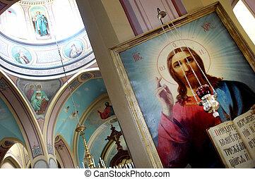 il, interno, di, il, chiesa santa trinità, in, il, russo,...