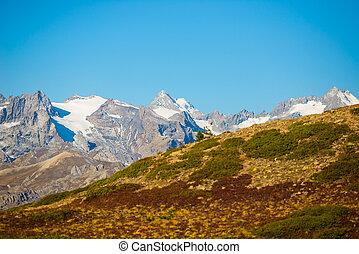 il, maestoso, picchi, di, il, massiccio, des, ecrins, (4101, m), parco nazionale, con, il, ghiacciai, in, france., telefoto, vista, da, distante, a, alto, altitude., cielo chiaro, autunno, colori