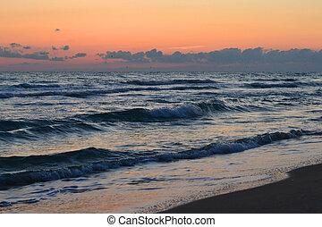 il, mare, in, il, luce, di, il, sole sera