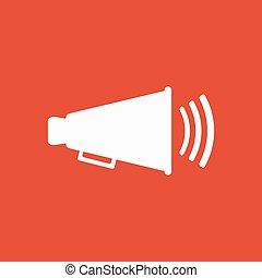 il, megafono, icon., bullhorn, simbolo., appartamento