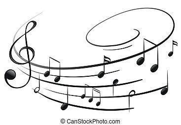 il, note musicali, con, il, g-clef