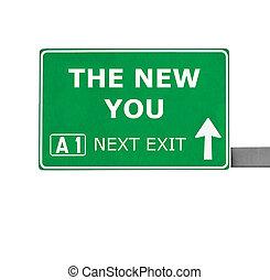 il, nuovo, lei, segno strada, isolato, bianco