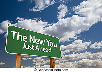 il, nuovo, lei, verde, segno strada