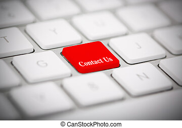 """il, parola, """"contact, us"""", scritto, su, tastiera"""