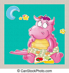 il piccolo drago con luna e stelle legge un libro