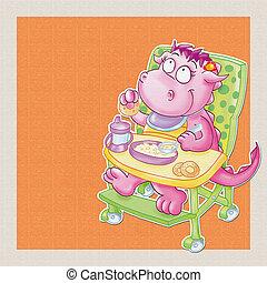 Il piccolo drago mangia. - Il piccolo drago mangia, la pappa...