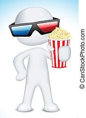 il portare, 3d, presa a terra, popcorn, uomo, occhiali
