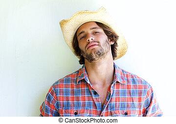 il portare, accidentato, cowboy, giovane, cappello, uomo