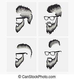 il portare, acconciature, baffi barba, occhiali