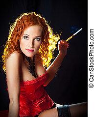 il portare, ambra, corsetto, imboccatura, capelli, nero, presa a terra, sexy, ragazza, rosso