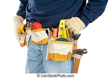 il portare, attrezzo, uomo, cintura