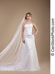 il portare, avorio, engagement., sleeveless, sposa, vestire, velo