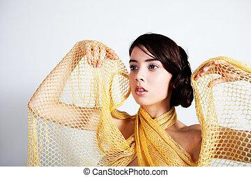 il portare, avvolgere, donna, giovane, maglia