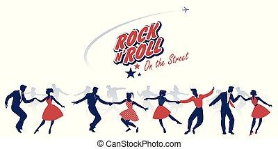il portare, ballo, 50, giovani coppie, silhouette, roccia, rotolo, vestiti