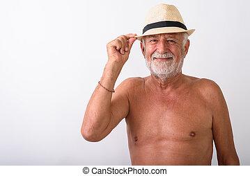 il portare, barbuto, mentre, uomo sorridente, cappello, anziano, felice