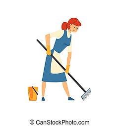 il portare, blu, donna, servizio, grembiule, pavimento, carattere, illustrazione, uniforme, domestica, vettore, pulizia, lavando, vestito bianco