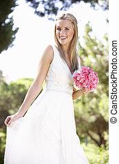 il portare, bouqet, sposa, presa a terra, abito nunziale