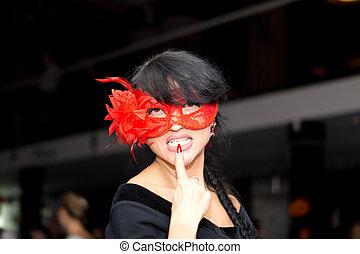 il portare, brunetta, maschera, veneziano, donna, seducente