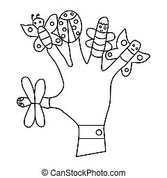 il portare, burattini, mano, dito, icona